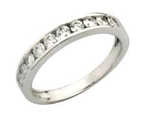 18ct 750 White Gold Channel Set Half Diamond Eternity Ring TDW:0.20ct