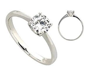 18ct 750 White Gold 4 Claw Diamond SolitaireRing TDW:0.20ct