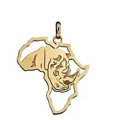 9ct 375 Yellow Gold Africa Map Pendant With Cut out Big 5 Rhino