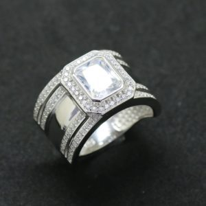 Sterling Silver 925 Ladies Wide Emerald Cut Cubic Zirconia Ring