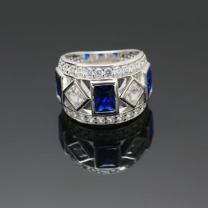 Sterling Silver 925 Ladies Cubic & Corundum Blue Sapphire Dress Ring