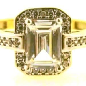 9ct 375 2-Tone Ladies Cubic Zirconia Ring with Big Rectangular Center Stone