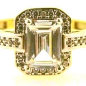 9ct 375 2-Tone Ladies Cubic Zirconia Ring with Big Rectangular Center Stone