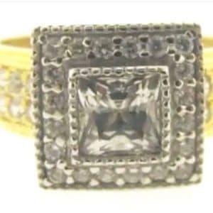 9ct 375 2-Tone Ladies Square Top Cubic Zirconia Ring