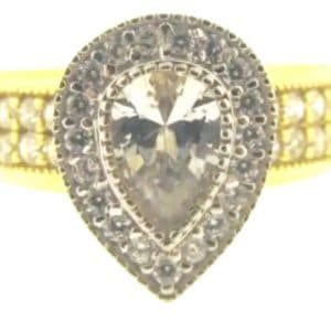 9ct 375 2-Tone Ladies Pear Shaped Top Cubic Zirconia Ring
