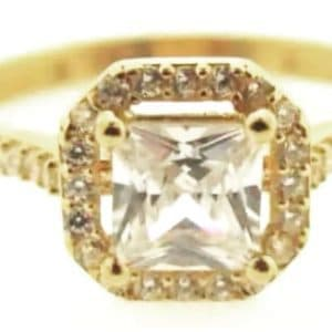 9ct 375 Yellow Gold Ladies Cubic Zirconia Ring with Big Square Center Stone