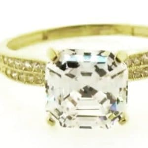 9ct 375 Yellow Gold Ladies Square Top Cubic Zirconia Ring