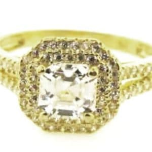 9ct 375 Yellow Gold  Ladies Square Top Cubic Zirconia Double Halo Ring