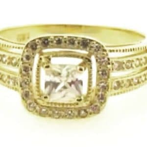 9ct 375 Yellow Gold Ladies Ring with Square Center Cubic
