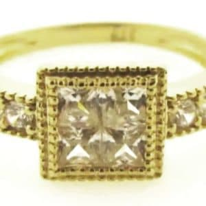 9ct 375 Yellow Gold Ladies Ring with Square Invisible Set small Cubic Center