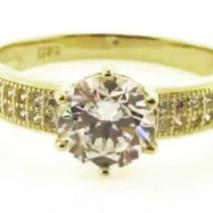 9ct 375 Yellow Gold Ladies Ring with Big Round Center Cubic