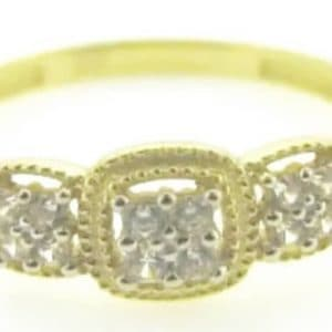 9ct 375 Yellow Gold Ladies Ring with 3 Square Cluster Cubics On Top