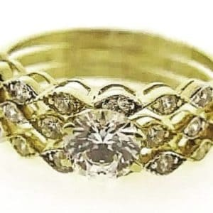 9ct 375 Yellow Gold  3 Piece Wedding Set with Round Center Cubic