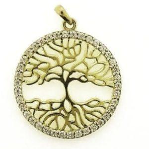 9ct 375 Yellow Gold Cubic Zirconia Tree Of Life Pendant