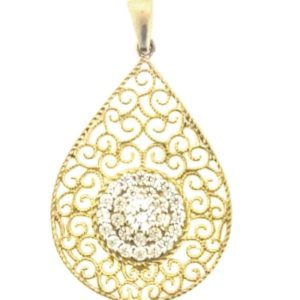 9ct 375 Yellow Gold Cubic Zirconia Antique Style Filligree Pendant