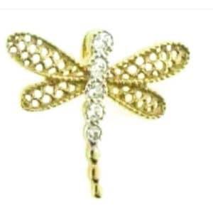 9ct 375 Yellow Gold Cubic Zirconia Dragonfly Slider Pendant