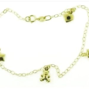 9ct 375  Charm Bracelet with 4 Assorted Charms