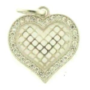 9ct White Gold & Cubic Zirconia Hart Shaped Filligree Pendant
