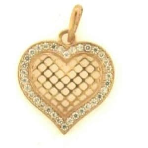 9ct Rose Gold Hart Shaped Cubic Zirconia Filligree Pendant