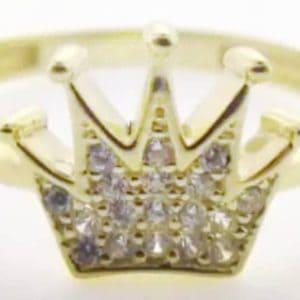 9ct 375 Yellow Gold LadiesElegant Cubic Pave Set Crown Ring
