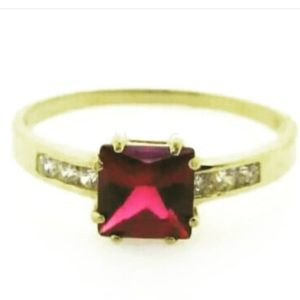 9ct 375 Yellow Gold Ladies Ring with Square Red Ruby Cubic Center Stone