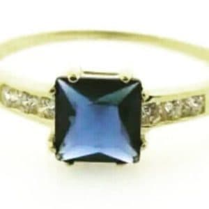 9ct 375 Yellow Gold Ladies Ring with Square Sapphire Blue Cubic Center Stone