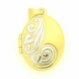 9ct 375 2-Tone Oval Shaped Locket Pendant