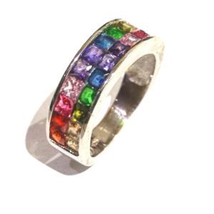 Sterling Silver 925 Ladies Tutti Fruitti Double Row Gem Stone Eternity Band