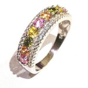Sterling Silver 925 Ladies Pastel Tutti Fruitti  Gem Stone Eternity Band