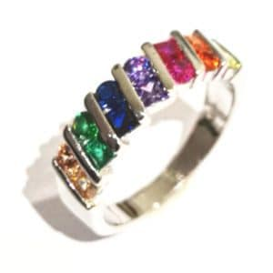 Sterling Silver 925 Ladies Tutti Fruitti Double Gem Stone Eternity Band